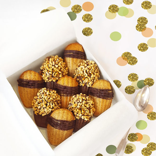 easter madeleines french cakes chocolate vanilla spread stuffed nuts